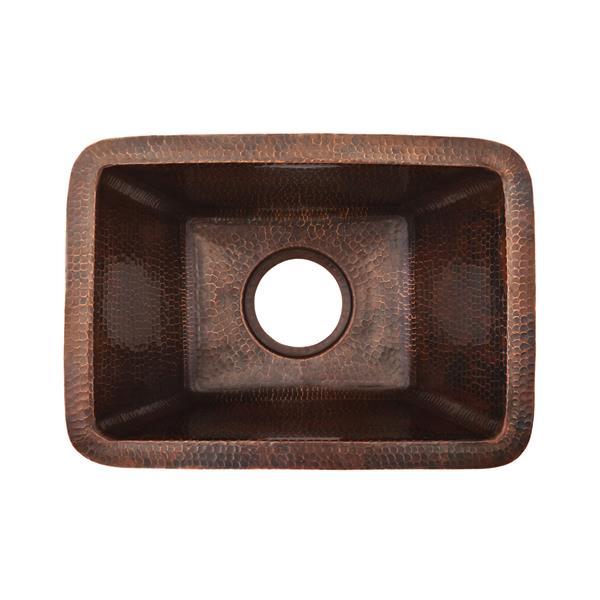 """Évier rectangulaire en cuivre avec robinet et drain, 17"""""""
