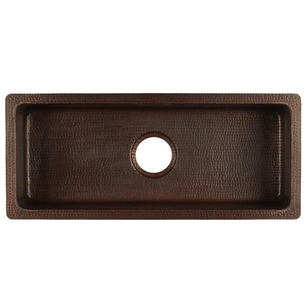 """Évier rectangulaire en cuivre avec robinet et drain, 28"""""""