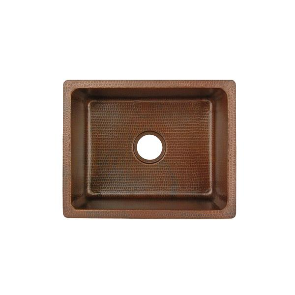 Premier Copper Products Rectangle Copper Sink with Faucet and Drain - 20-in