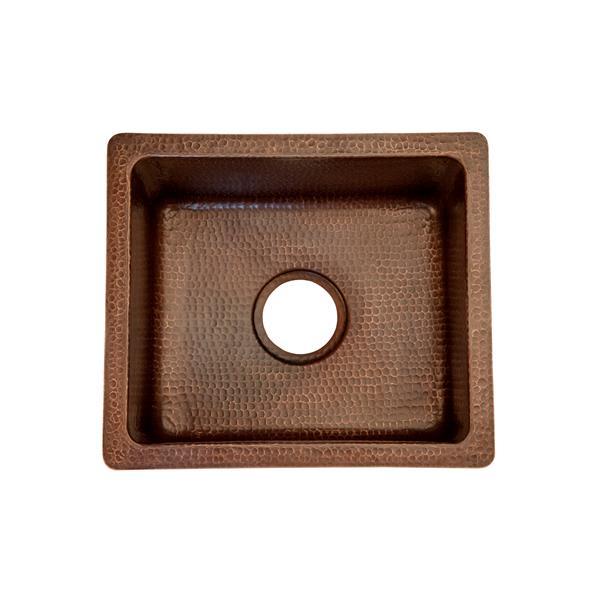 """Évier rectangulaire en cuivre avec robinet et drain, 16"""""""