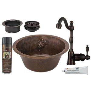 Round Copper Sink with Faucet and Drain - 16