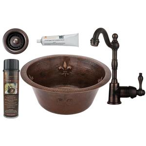 """Évier rond en cuivre avec robinet et drain, 16"""""""