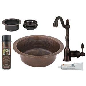 """Évier rond en cuivre avec robinet et drain, 14"""""""