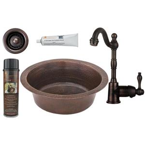 Round Copper Sink with Faucet and Drain - 14