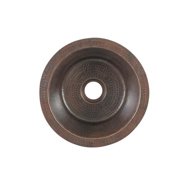 Évier de bar rond en cuivre 12po avec robinet et drain