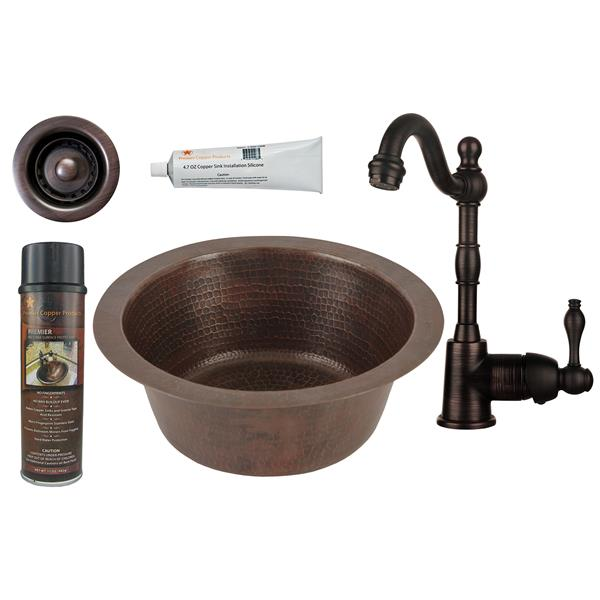 Premier Copper Products Round Copper Sink with Faucet and Drain - 12-in