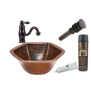 Évier hexagonal en cuivre avec robinet et drain