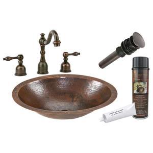 Évier ovale en cuivre avec robinet et drain