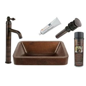 Premier Copper Products Rectangular Copper Sink with Faucet & Drain, 17-in