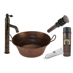 Évier en forme de seau avec robinet et drain, cuivre
