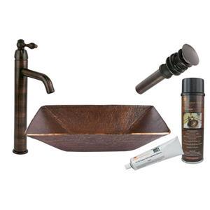Évier rectangulaire en cuivre avec robinet et drain