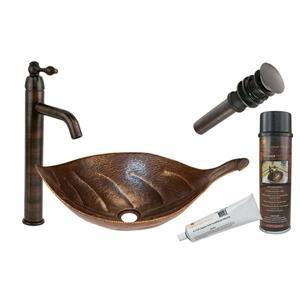 Évier en forme de feuille avec robinet et drain, cuivre