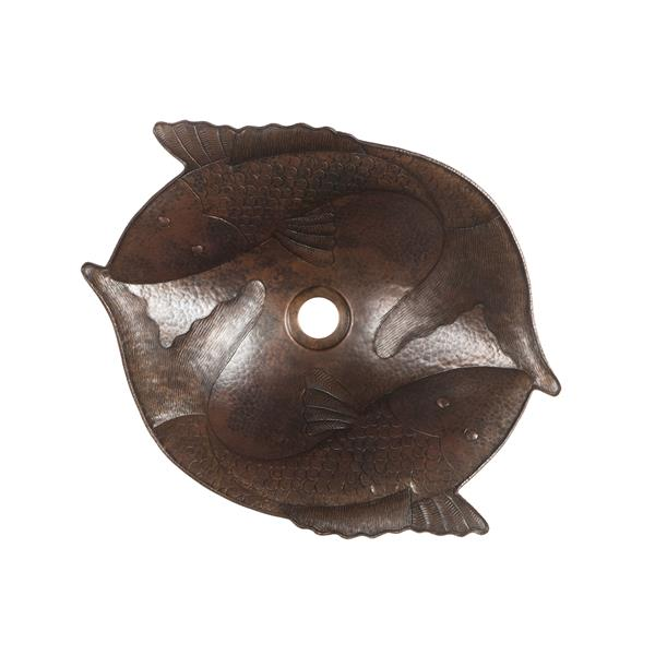 Évier en forme de poisson avec robinet et drain, cuivre