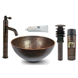 """Évier rond en cuivre avec robinet et drain, 13"""""""