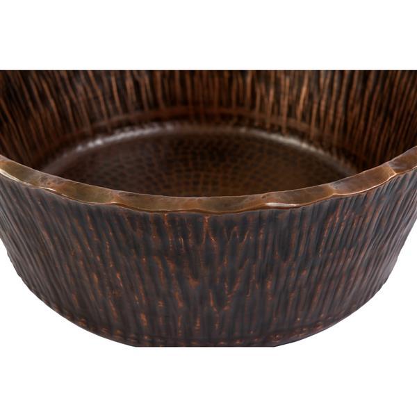 Évier en cuivre en motif de bois