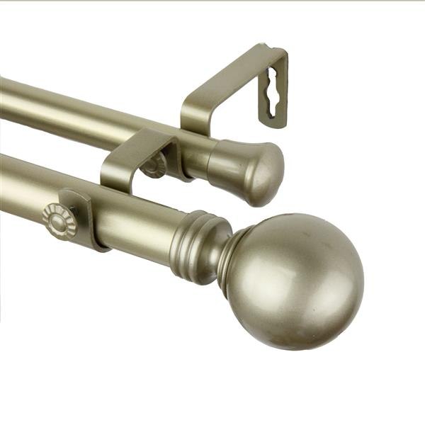 Rod Desyne Globe Double Curtain Rod - 66-120-in - 1-in - Gold
