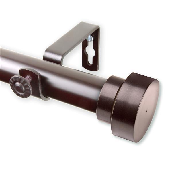 Rod Desyne Bonnet Curtain Rod - 28-48-in - 1-in- Mahogany