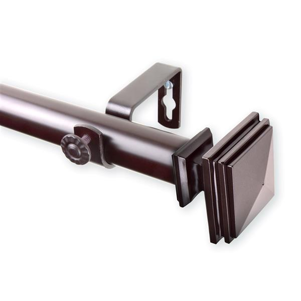 Rod Desyne Bedpost Curtain Rod - 48-84-in - 1-in-  Mahogany