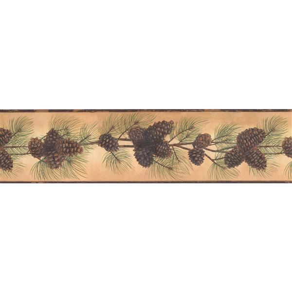 York Wallcoverings Pine Cones and Branch Wallpaper Border - Latte