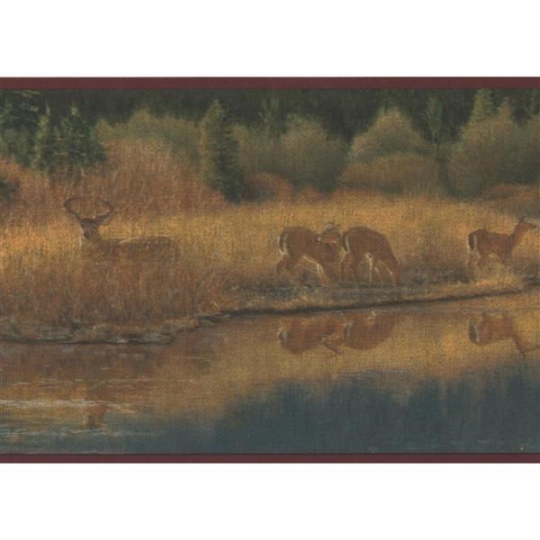 Retro Art Vintage Deer and Forest Wallpaper
