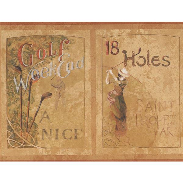 York Wallcoverings Vintage Golf Sports Wallpaper Border - Brown