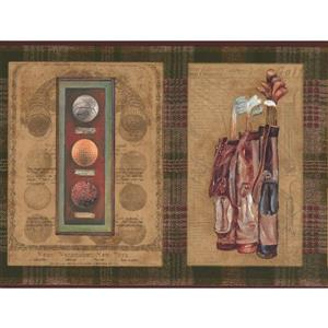 Chesapeake Vintage Golf Memorabillia Wallpaper Border