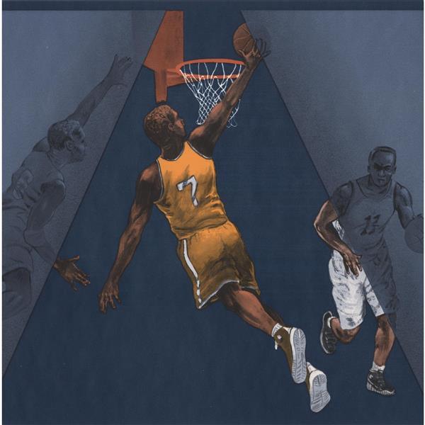 York Wallcoverings Retro Basketball Players Wallpaper Border