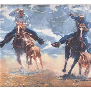 York Wallcoverings Retro Rodeo Cowboys Wallpaper Border