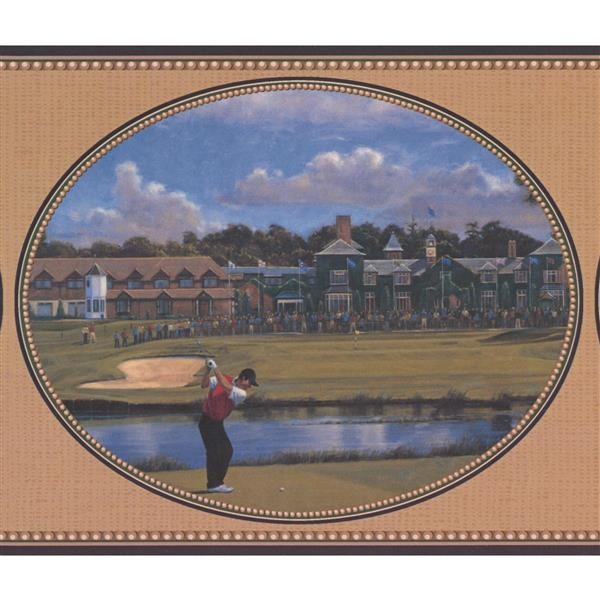 York Wallcoverings Vintage Golf Scenes Wallpaper Border