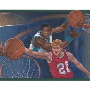 Retro Art Basketball Court and Players Wallpaper Border