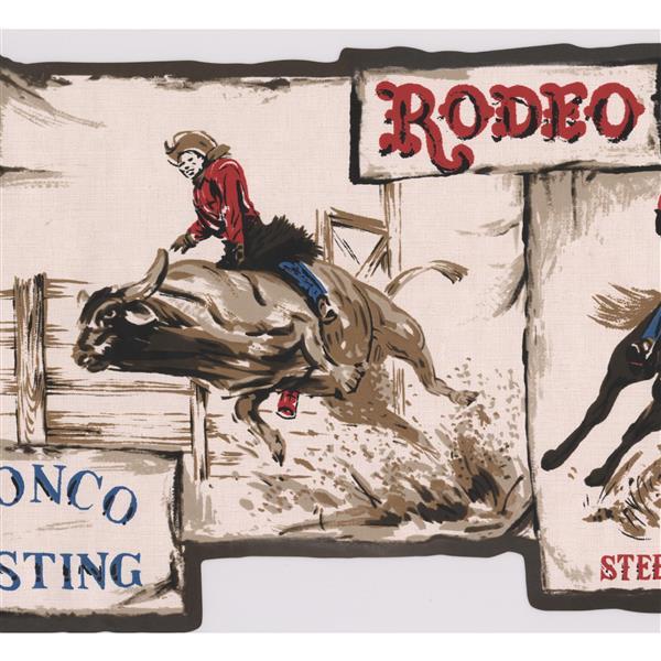 Retro Art Vintage Cowboy Rodeo Wallpaper Border