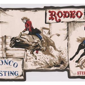 Retro Art Vintage Cowboy Rodeo Wallpaper Border