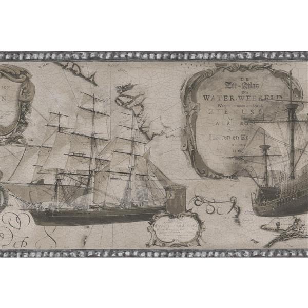 Norwall Vintage Sailboats Wallpaper - Black/White