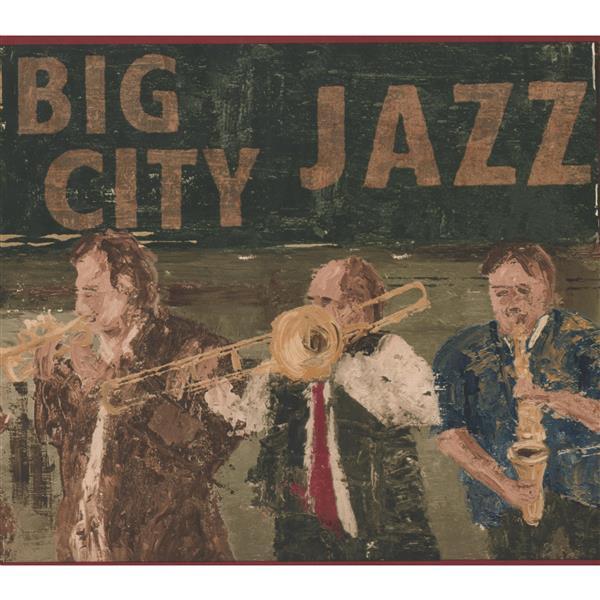 York Wallcoverings Vintage Big City Jazz Band Wallpaper Border - Brown/Green