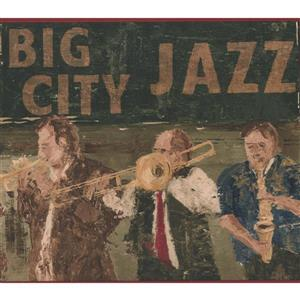 York Wallcoverings Vintage Big City Jazz Band Wallpaper Border - Brown/Green