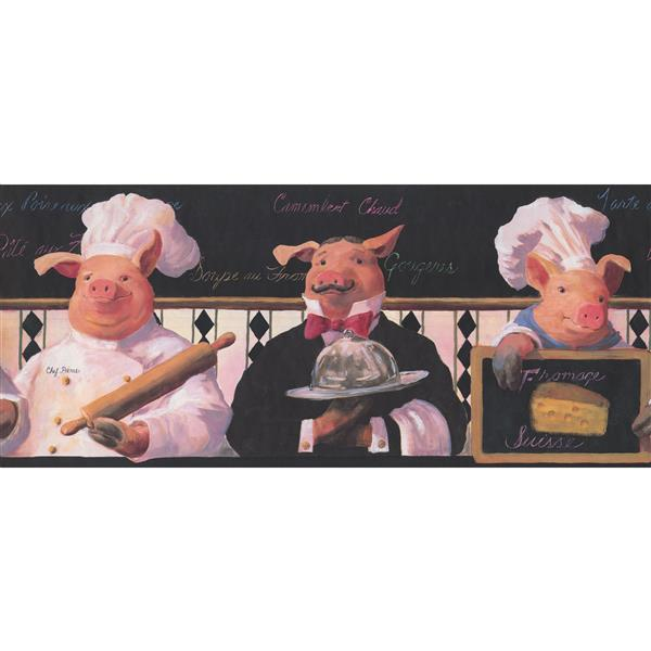 York Wallcoverings Vintage Pig as Cook and Waiter Wallpaper Border