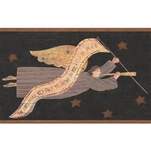 Vintage Angel Flying in the Sky Wallpaper - Charcoal Grey