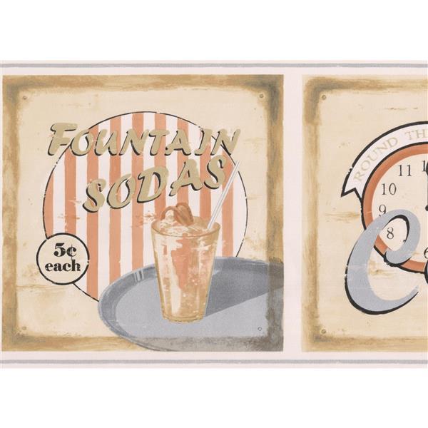 Norwall Retro Café Wallpaper - Coconut White