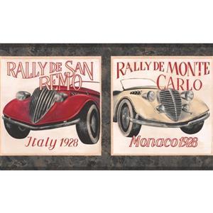 York Wallcoverings Vintage Race Cars Wallpaper Border - Roll 15-ft
