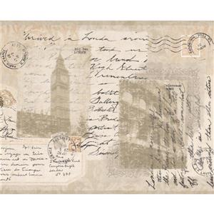 York Wallcoverings Vintage Postcards from Around the World Wallpaper - Beige
