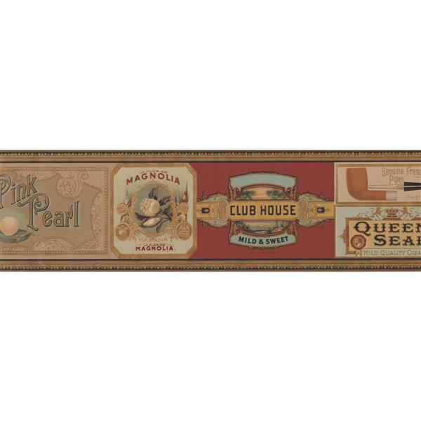 Retro Art Vintage Pipe and Cigar Wallpaper Border - Burgundy