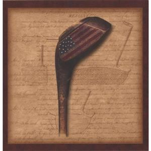 Chesapeake Golf Ball and Club with American Flag Wallpaper - Brown
