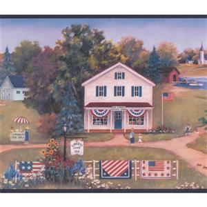 Retro American Village Wallpaper Border
