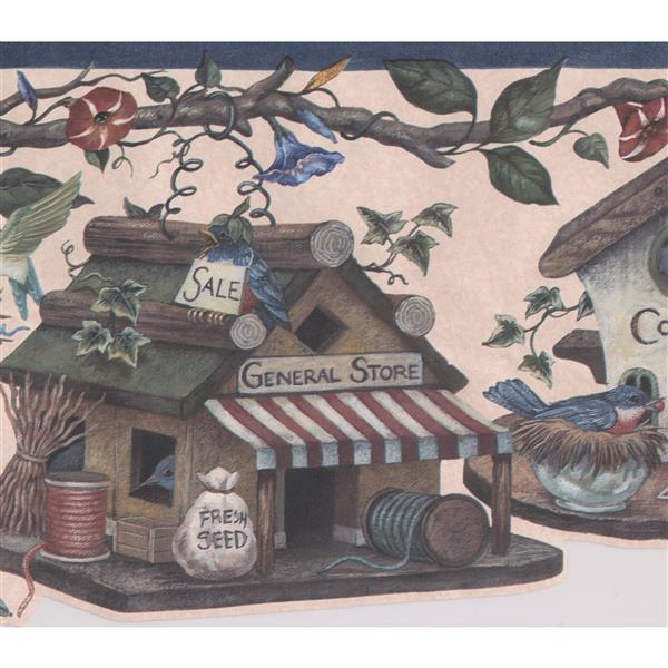 Retro Art Birdhouses and Flowers Vintage Wallpaper Border