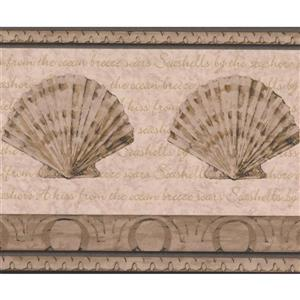 Retro Art Abstract Seashells Bathroom Wallpaper Border - Beige