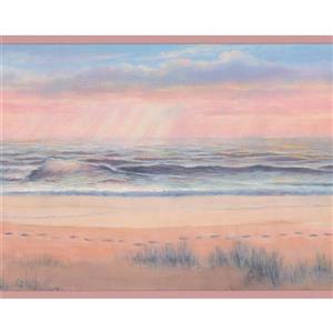 Seashore Footprints in the Sand Wallpaper - Beige/Brown