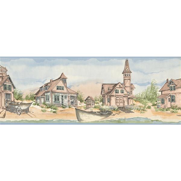 York Wallcoverings Vintage Sandy Shore and Rowboat Wallpaper