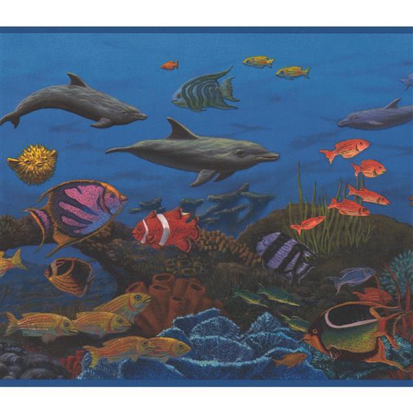 Retro Art Colorful Fish in Ocean Nautical Wallpaper