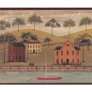 Chesapeake Vintage River Boats Wallpaper Border