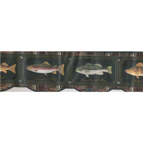 Retro Art Kids Fish Bathroom Wallpaper Border